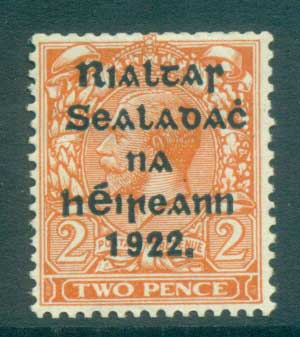Ireland 1922 2d orange Die I Provisional Opt. Blk 15x17mm Coil Harrison MLH lot78414