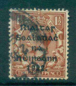 Ireland 1922 1.5d red-brown Provisional Opt. Blue-Blk 14.5x16mm Thom FU lot78427