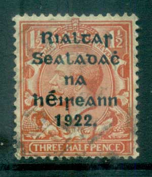 Ireland 1922 1.5d red-brown Provisional Opt. Blue-Blk 14.5x16mm Thom FU lot78428