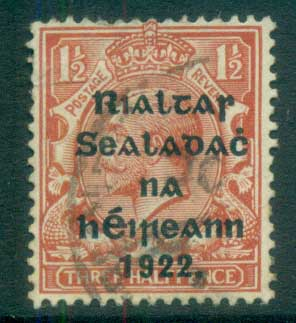 Ireland 1922 1.5d red-brown Provisional Opt. Blue-Blk 14.5x16mm Thom FU lot78429