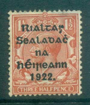 Ireland 1922 1.5d red-brown Provisional Opt. Blue-Blk 14.5x16mm Thom FU lot78430