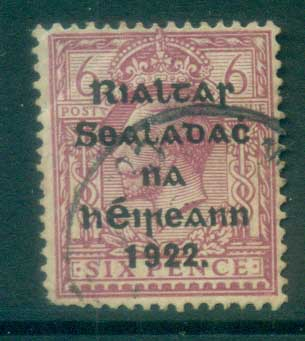Ireland 1922 6d reddish-purple Provisional Opt. Blue-Blk 14.5x16mm Thom (cnr crease/spacefiller) FU lot78447