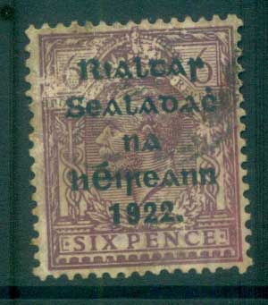 Ireland 1922 6d reddish-purple Provisional Opt. Blue-Blk 14.5x16mm Thom (scuffed surface/spacefiller) FU lot78448
