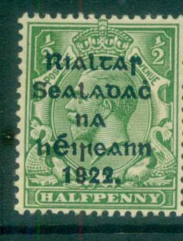 Ireland 1922 1/2d green Provisional Opt. Blue-Blk 14.5x16mm Thom MLH lot78453