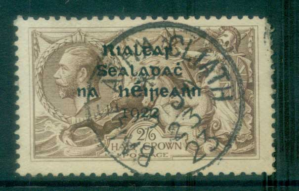 Ireland 1922 2/6d grey-brown seahorse Provisional Opt. Blue-Blk 14.5x16mm Thom MLH lot78460