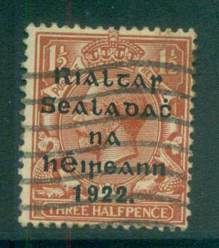 Ireland 1922 1.5d red brown Provisional Opt. Blue-Blk 15.75x16mm Thom FU lot78468