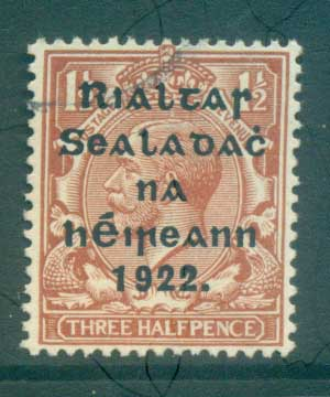 Ireland 1922 1.5d red brown Provisional Opt. Blue-Blk 15.75x16mm Thom FU lot78469