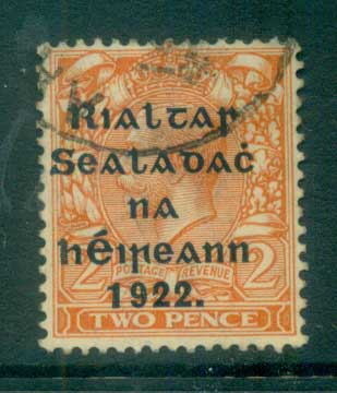 Ireland 1922 2d orange Die II Provisional Opt. Blue-Blk 15.75x16mm Thom FU lot78471 - Click Image to Close