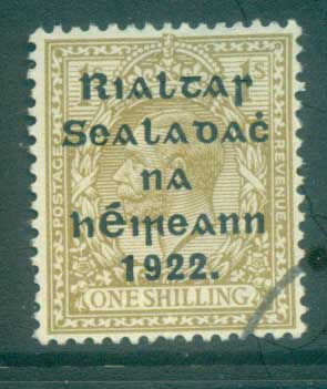 Ireland 1922 1/- bister Provisional Opt. Blue-Blk 15.75x16mm Thom(suspect cancel) FU lot78473