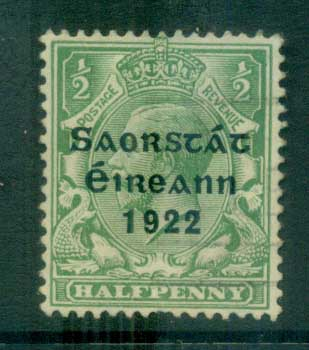 Ireland 1922 1/2d green Provisional Opt. Blue-Blk 3 line Thom FU lot78476
