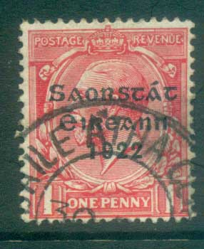 Ireland 1922 1d scarlet Provisional Opt. Blue-Blk 3 line Thom FU lot78478