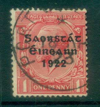Ireland 1922 1d scarlet Provisional Opt. Blue-Blk 3 line Thom FU lot78479