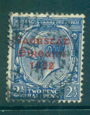 Ireland 1922 2.5d Bright blue Provisional Opt. Red 3 line Thom FU lot78486