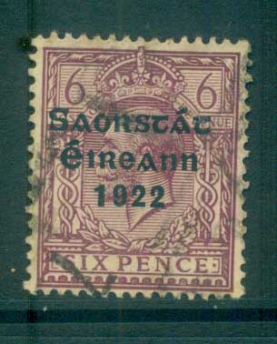 Ireland 1922 6d reddish purple Provisional Opt. Blue-Blk 3 line Thom FU lot78492