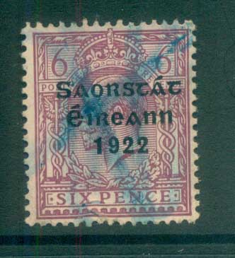 Ireland 1922 6d reddish purple Provisional Opt. Blue-Blk 3 line Thom FU lot78493