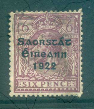 Ireland 1922 6d reddish purple Provisional Opt. Blue-Blk 3 line Thom FU lot78494