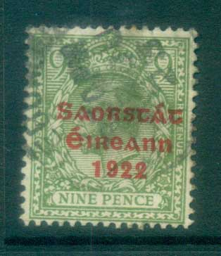 Ireland 1922 9d olive-green Provisional Opt. Red 3 line Thom FU lot78495