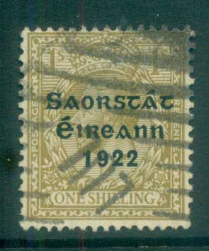 Ireland 1922 1/- bistre-brown Provisional Opt. Blue-Blk 3 line Thom FU lot78497