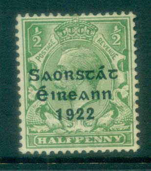 Ireland 1922 1/2d green Provisional Opt. Blue-Blk 3 line Thom MLH lot78499