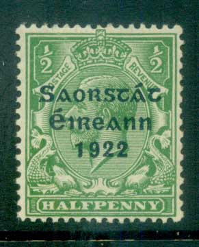 Ireland 1922 1/2d green Provisional Opt. Blue-Blk 3 line Thom MLH lot78500