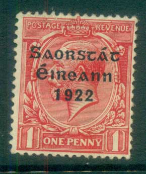 Ireland 1922 1d scarlet Provisional Opt. Blue-Blk 3 line Thom MLH lot78501