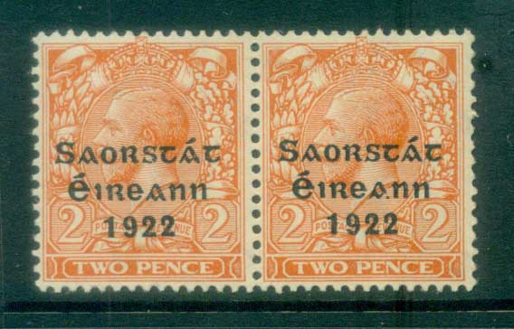 Ireland 1922 2d orange Die II Provisional Opt. Blue-Blk 3 line Thom pr MLH lot78503