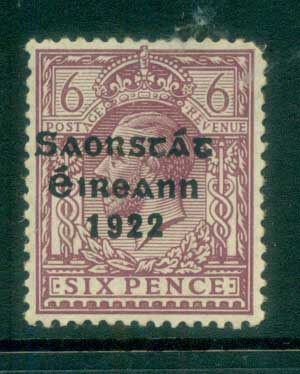Ireland 1922 6d reddish-purple Provisional Opt. Blue-Blk 3 line Thom MLH lot78504