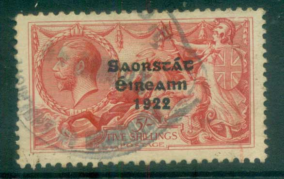 Ireland 1922 5/- rose-red seahorse Provisional Opt. Blue-Blk 3 line Thom FU lot78506