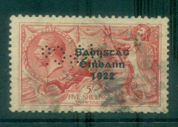Ireland 1922 5/- rose-red seahorse Provisional Opt. Blue-Blk 3 line Thom PERFIN FU lot78507