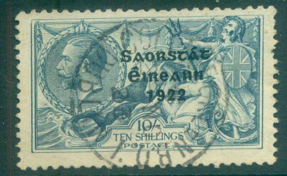 Ireland 1922 10/- dull grey-blue seahorse seahorse Provisional Opt. Blue-Blk 3 line Thom (pulled perf RHS)FU lot78508