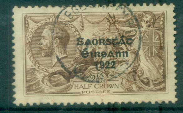 Ireland 1925 2/6d chocolate -brown seahorse Provisional Opt. Blue-Blk 3 line Narrow Date FU lot78514