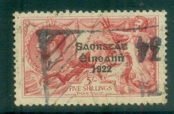 Ireland 1925 5/- rose-red seahorse Provisional Opt. Blue-Blk 3 line Narrow Date FU lot78515