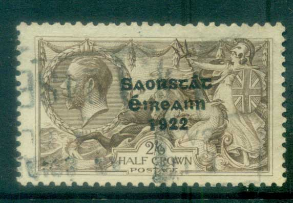 Ireland 1927-28 2/6d chocolate -brown seahorse Provisional Opt. Blue-Blk 3 line Wide Date FU lot78517