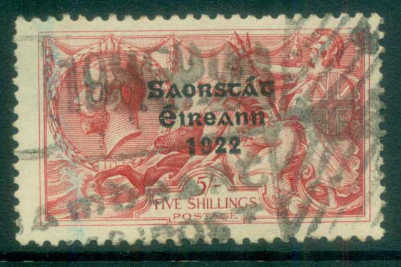 Ireland 1927-28 5/- rose-red seahorse Provisional Opt. Blue-Blk 3 line Wide Date FU lot78518