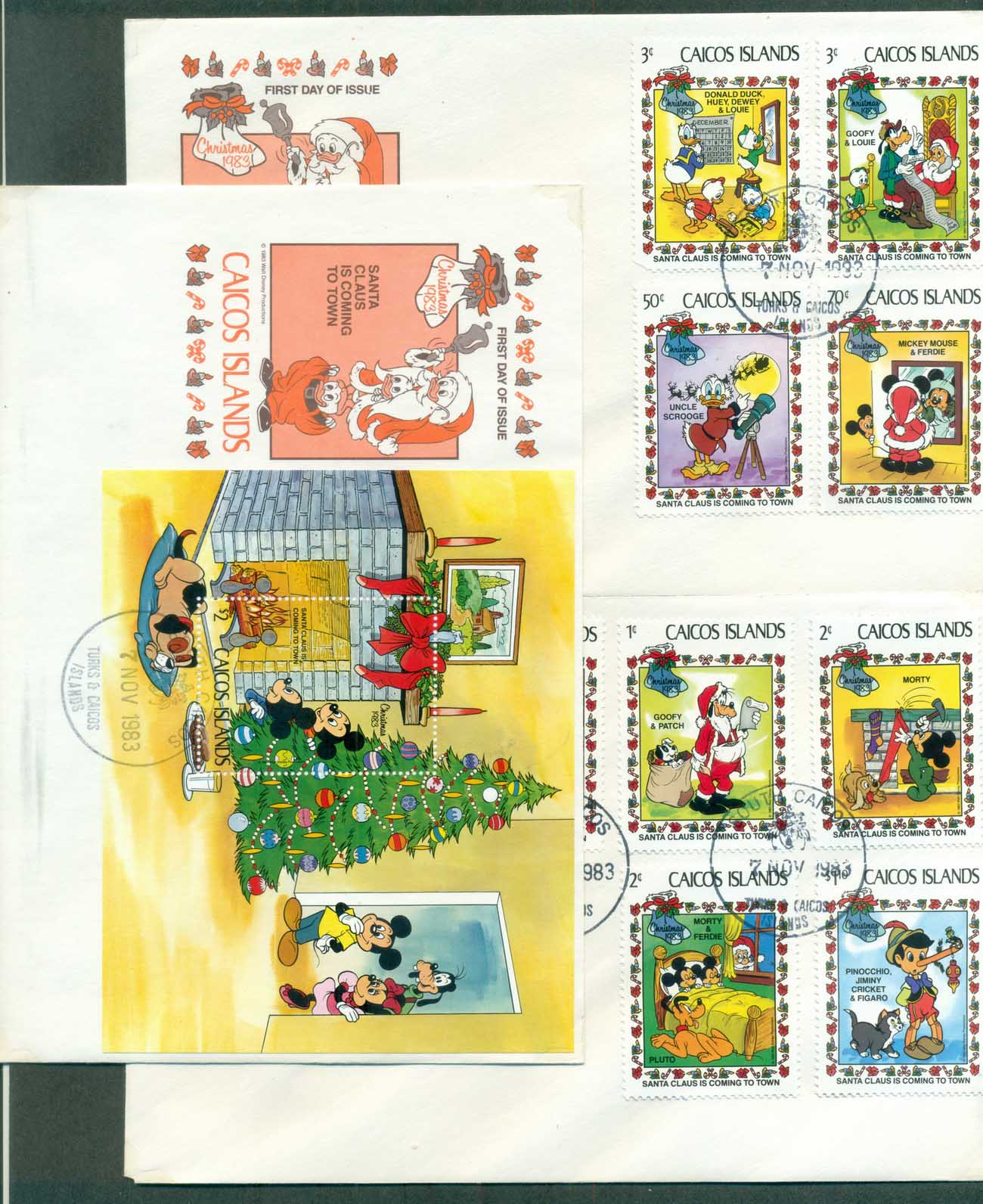 Caicos Is 1983 Disney, Santa Claus is Coming to Town 3x FDC lot78920