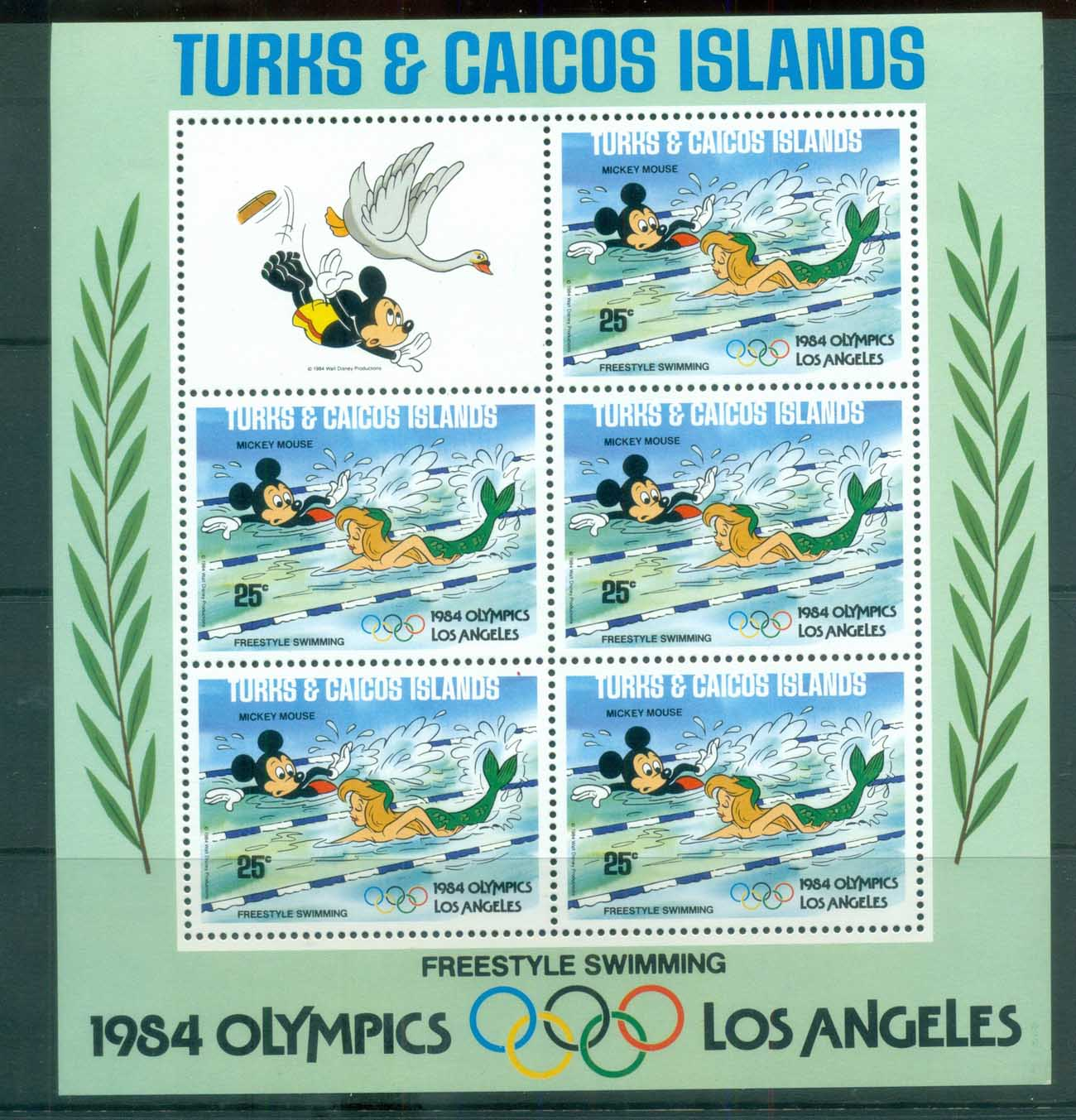 Turks & Caicos Is 1984 Disney,Los Angeles Olympics, Freestyle Swimming, no rings sheetlet MUH lot79020