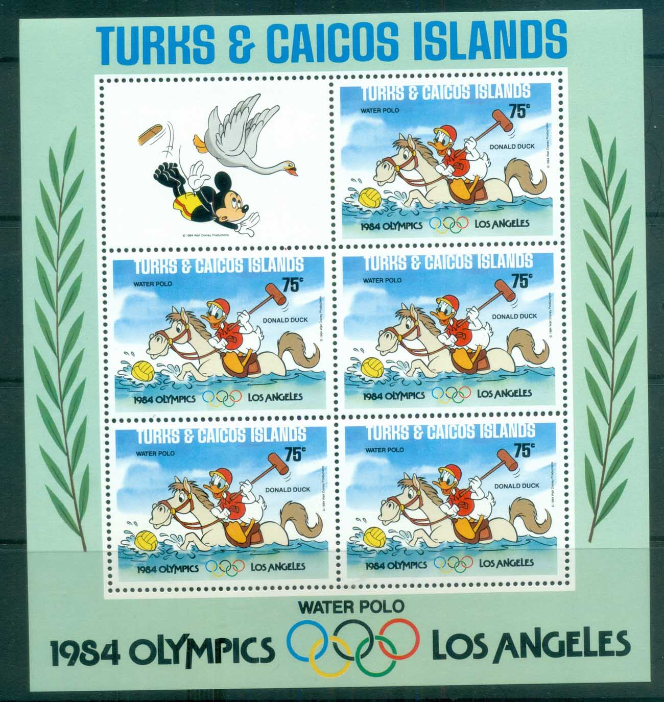 Turks & Caicos Is 1984 Disney,Los Angeles Olympics, Water Polo, no rings sheetlet MUH lot79021