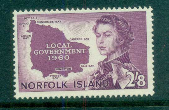 Norfolk Is 1960 Local Govt. Map MUH lot79165