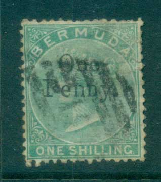 Bermuda 1875 QV 1d on 1/- green, faults FU lot79192