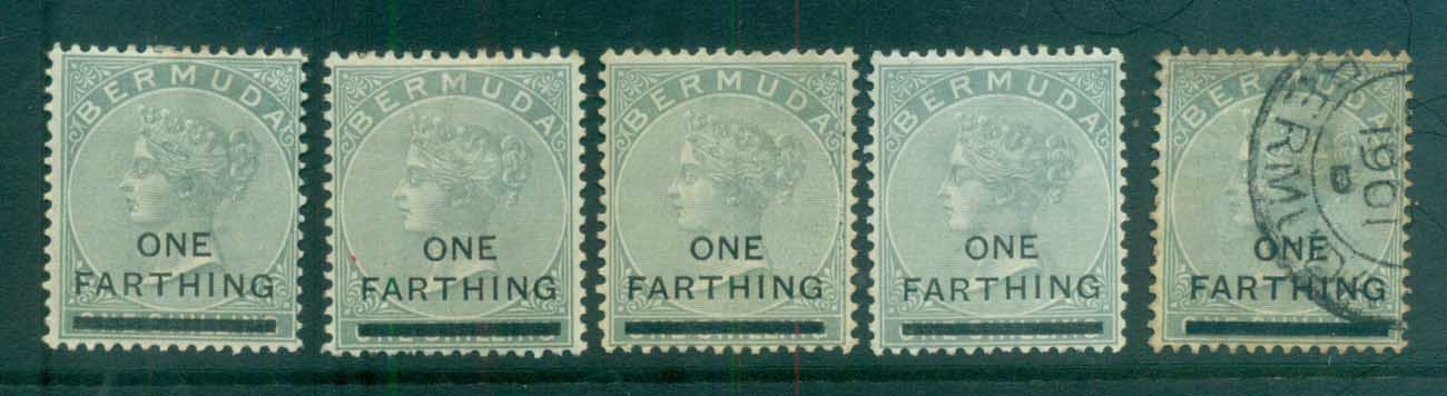 Bermuda 1901 QV 1f on 1/- grey asst MH/FU lot79193