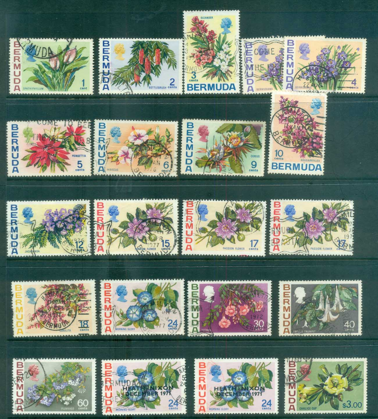 Bermuda 1970-76 Flower Defins Asst FU lot79228