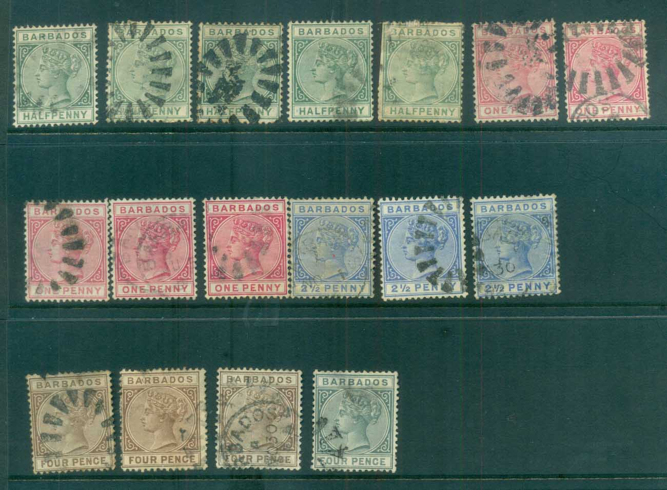 Barbados 1882 on Assorted QV, faults FU lot79262