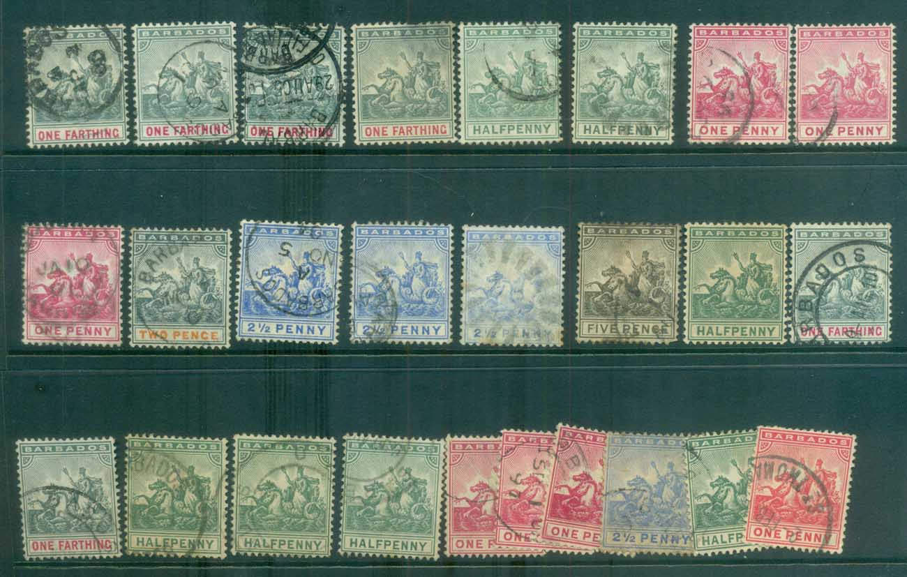 Barbados 1892 on Assorted QV Seahorses, faults FU lot79263