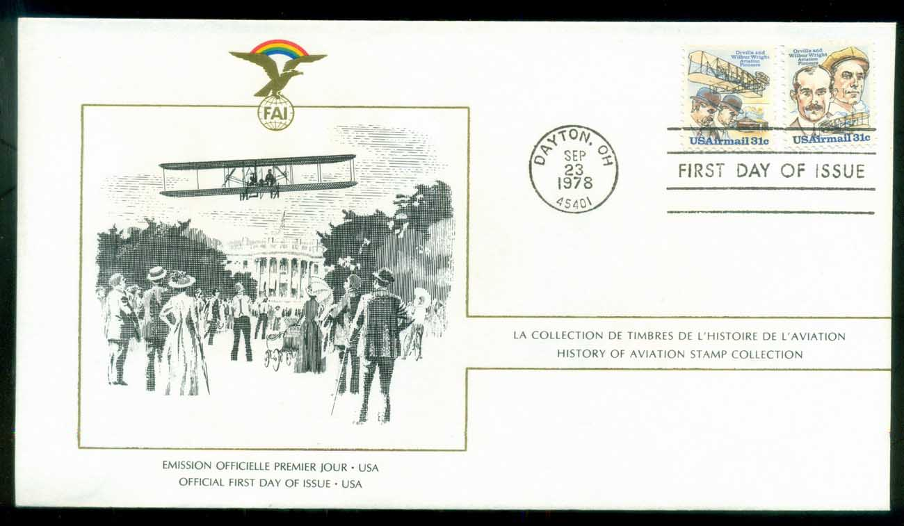 USA 1978 History of Aviation, FAI FDC lot79553