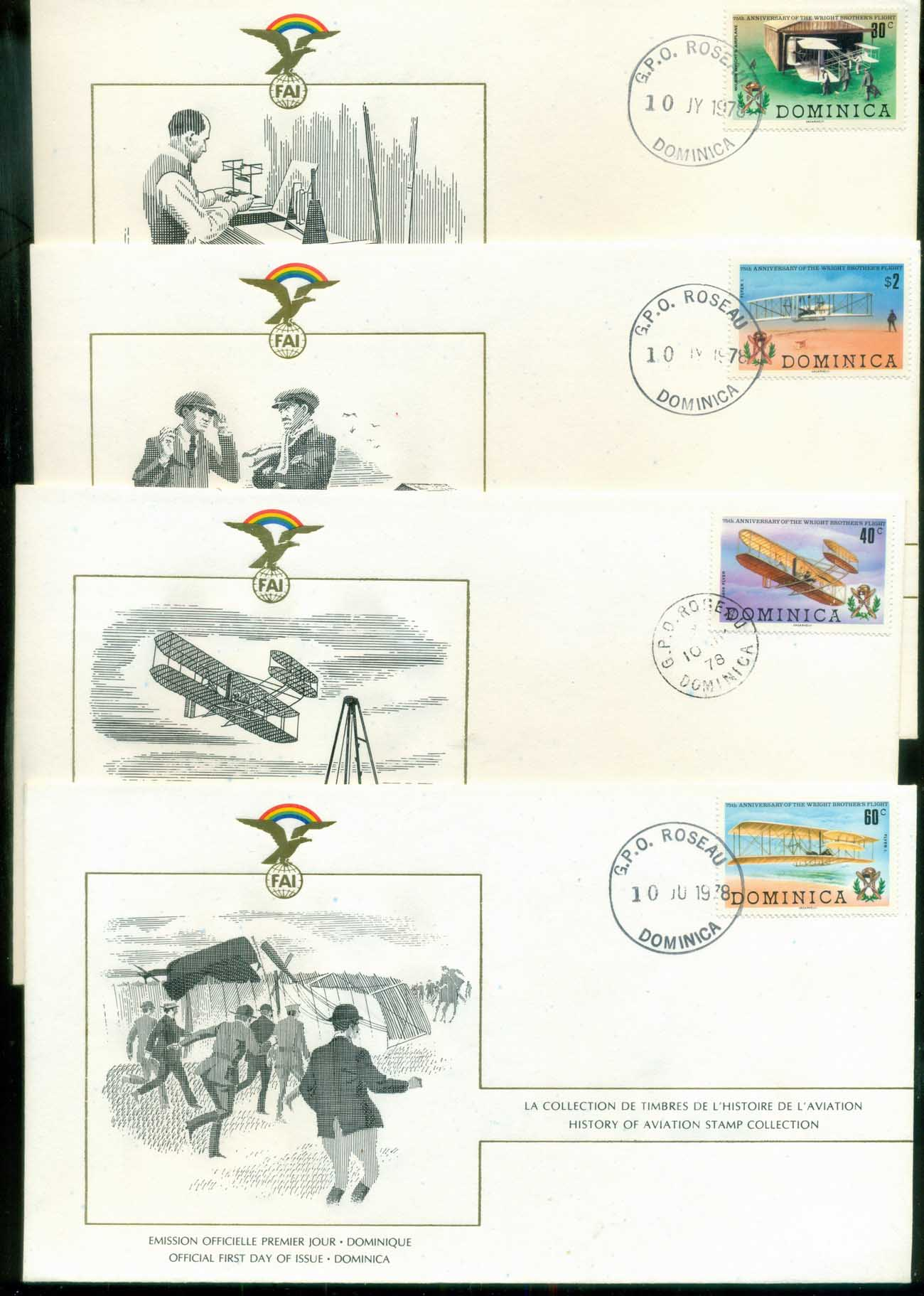 Dominica 1978 History of Aviation, FAI 4xFDC lot79558