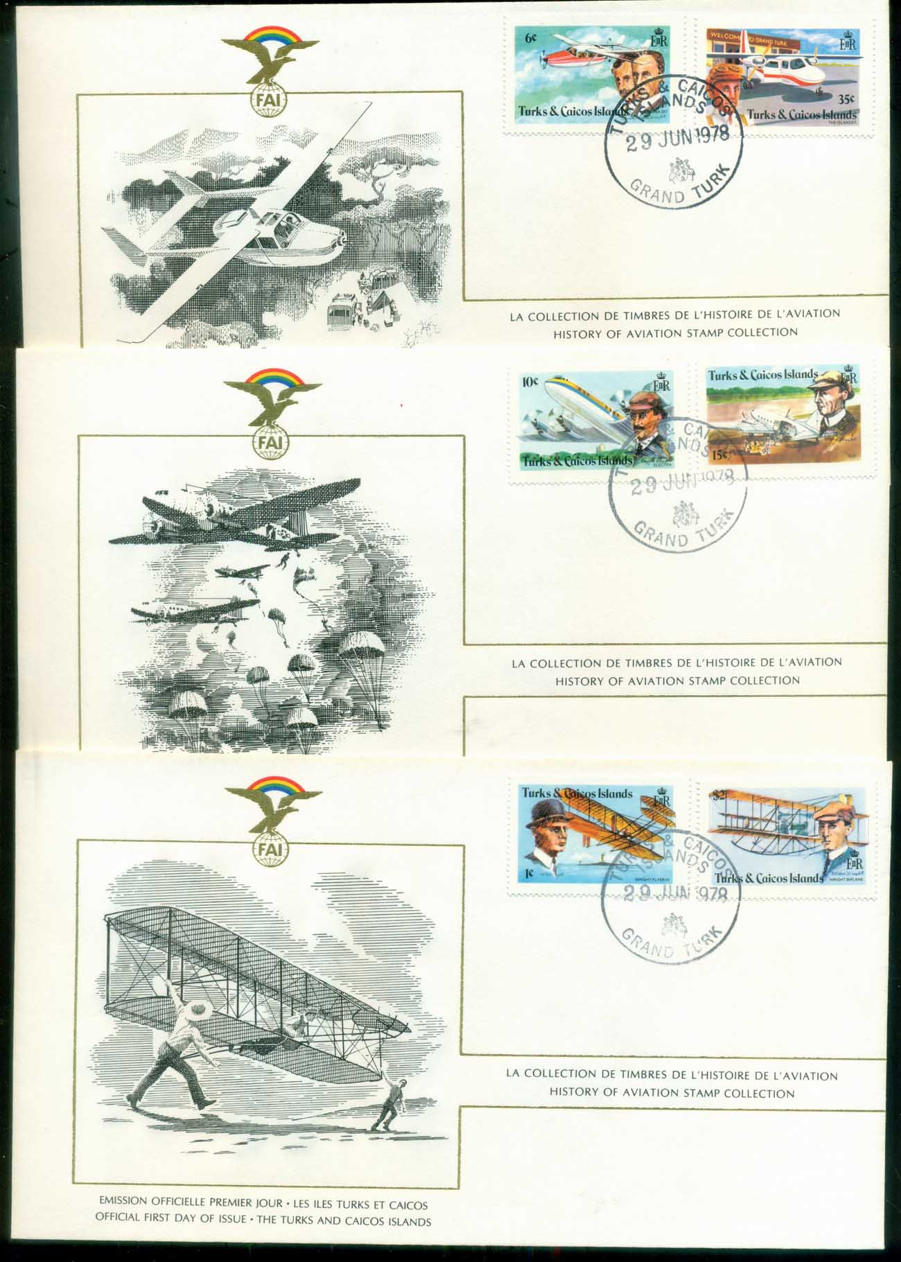 Turks & Caicos Is 1978 History of Aviation, FAI 3xFDC lot79578