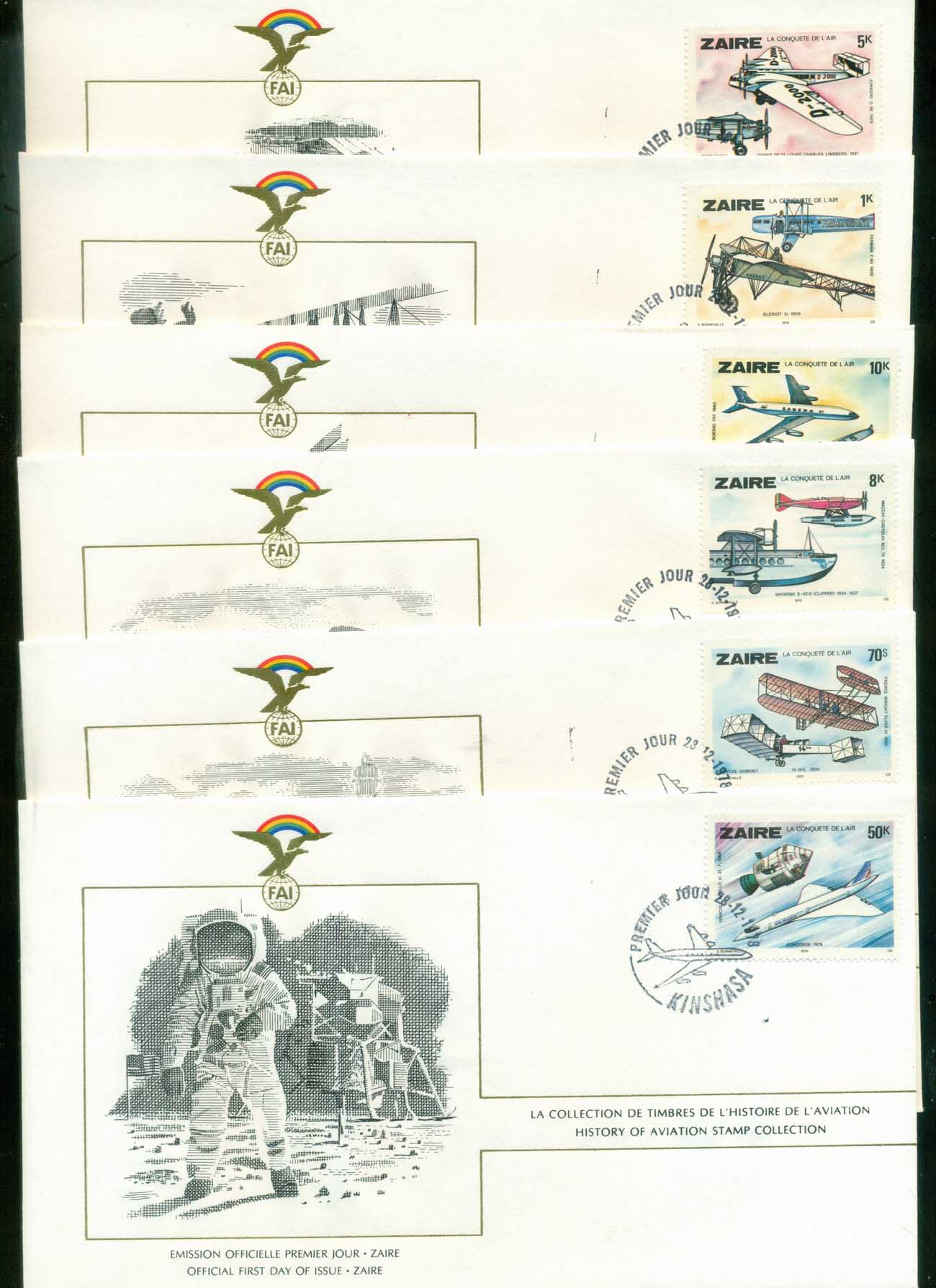 Zaire 1978 History of Aviation, FAI 6xFDC lot79583