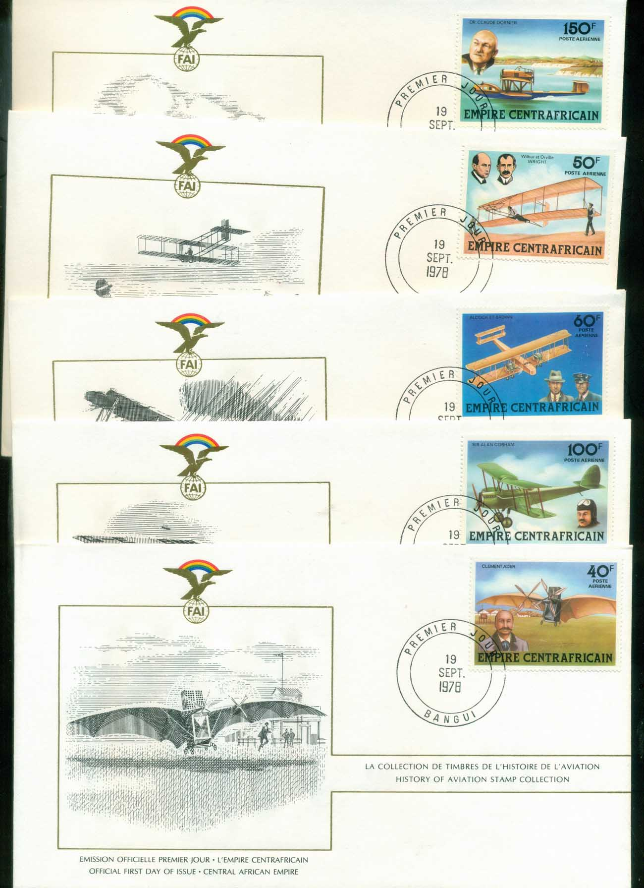 Central African Republic 1978 History of Aviation, FAI 5xFDC lot79584