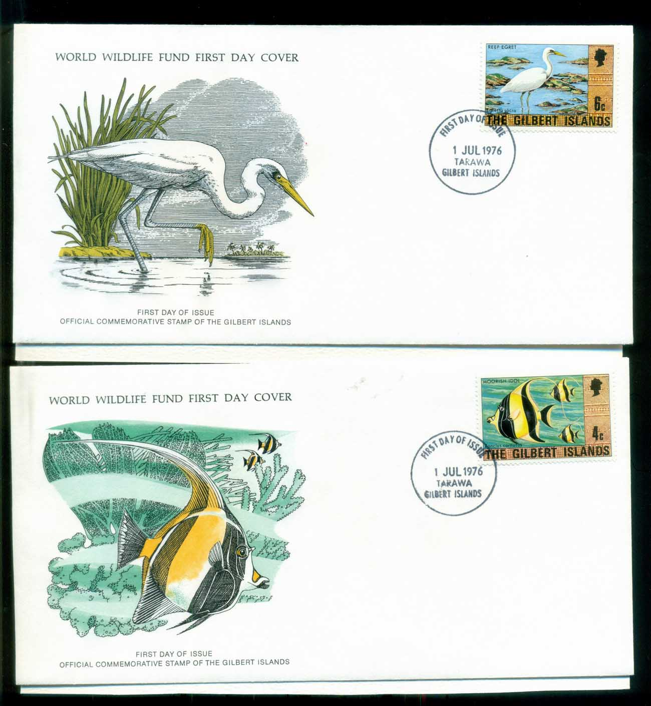 Gilbert & Ellice Is 1976 WWF,Bird, Fish,Franlkin Mint (with inserts) 2xFDC lot79594