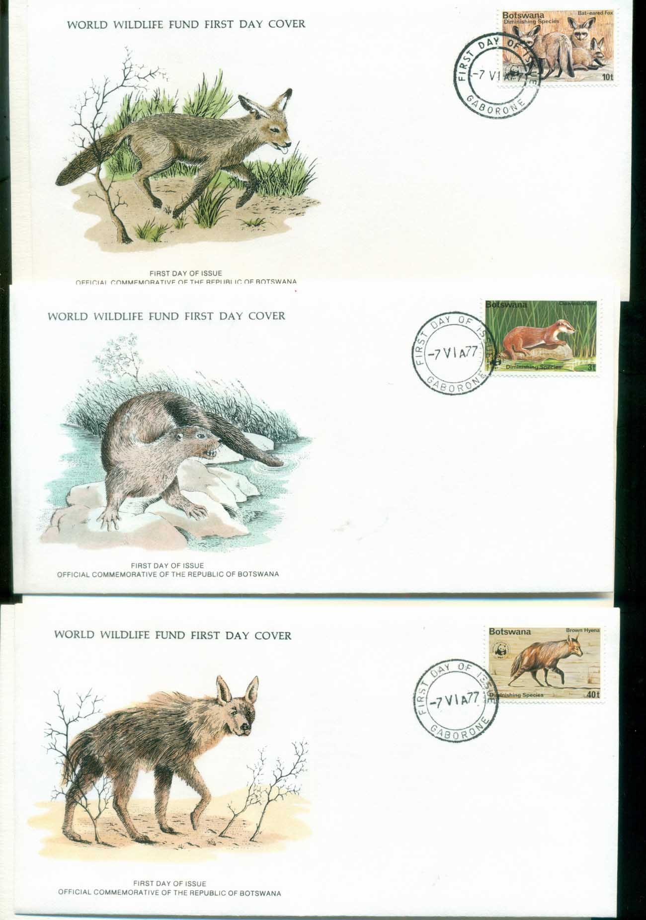 Botswana 1977 WWF,Fox, Otter, Hyena,Franlkin Mint (with inserts) 3xFDC lot79603